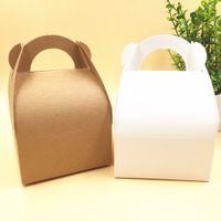 50 pcs 10x10x14.5cm Kraft casamento favores favores caixas de presente em branco chocolates / bolo / comida artesanal / caixa de doces caixa de armazenamento de papel