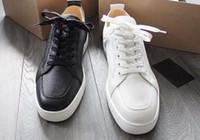 Оптовая продажа Элегантный Дизайнерские мужские кроссовки с красной подошвой обуви с высоким качеством женщин Человек Rantulow зерна кожа Повседневный Flats крем, черный, Kh