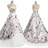 Белое новое камуфляжное свадебное платье без бретелек Простой дизайнер A-Line Lace-uo Назад Свадебные платья