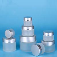 5g 10g 15g 20g 30g 50g de vidro fosco Cosmetic Jar frasco vazio Amostra Creme Lip Balm recipiente de armazenamento recarregáveis com prata Tampas