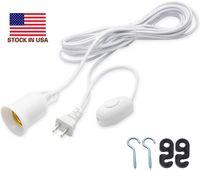 20피트 전원 코드 케이블 E27 / E26 램프는 빛 소켓 매달려 샹들리에 전구 홀더 램프 85-265V위한 스위치 와이어 라운드 플러그를베이스