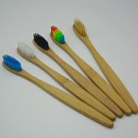 الخيزران الطبيعي مقبض فرشاة أسنان قوس قزح ملون شعيرات ناعمة فرشاة أسنان الخيزران 8 ألوان ورقة مربع حزمة RRA1335