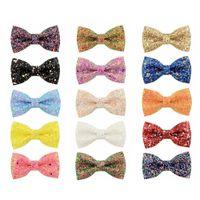 16 Couleur 3 pouces Glitter Barrettes pour les femmes filles Boutique main enfants Bow cheveux Barrettes enfants Sequin Barrettes Accessoires pour cheveux M1325