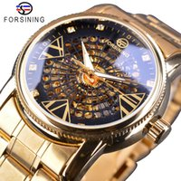 Forsining 로얄 황금 해골 다이아몬드 디스플레이 남성 투명 창조적 인 시계 최고 브랜드 명품 스틸 자동 시계 시계