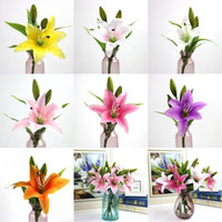 3 teste di Charme Real Touch Lily 38 centimetri Fiore artificiale Home Wedding Party Decor Seta Decorazione floreale Bouquet