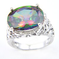 Luckyshine Brand New Vintage Rainbow Oval Mystic Topaz Gemstone 925 Sterling Silver Plated Cubic Zirconia Charm Woman Rings Jewelry