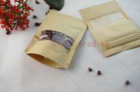 100 шт. / лот 16 * 24 см встать коричневый крафт-бумага zip lock сумка с сушеные окна клюквы мешки для хранения молнии закрывающемся, самостоятельной стоя мешок