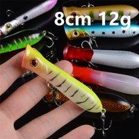 10-цветной 8 см 12G Поппера Пластиковые Жесткий Приманки Приманки рыболовные крючки 6 # Hook Песка рыболовные снасти Аксессуары WL-33