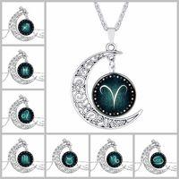 Charms Collane Venerdì nero collana gioielli in argento con scava fuori il vetro Cabochon reticolo di stella Collana Luna