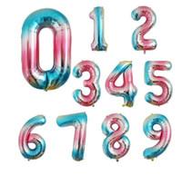 40 ДЮЙМОВ С Днем Рождения Празднование Прополки Воздушный шар Украшение постепенного обесцвечивания круглый алюминиевый шарик с покрытием номер 0 до 9 воздушный шар
