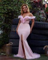 2019 fard à joues rose Encolure sirène de bal Drses élégant haut fendus gaine robe de soirée longue partie formelle Brideamaid Robes