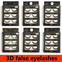 3pair set Natural False Eyelashes Mink Hair Eye Lashes Black...
