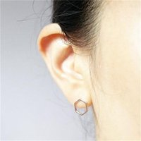 Fashion Jewelry New Wholesale Gold Silver Hexagon Stud Earri...