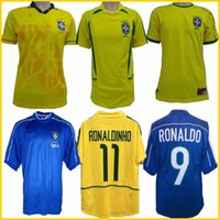 1998 브라질 홈 축구 유니폼 2002 Brasil 레트로 클래식 셔츠 Carlos Romario Ronaldo Ronaldinho Jersey Camisa de Futebol 1994 Bebeto