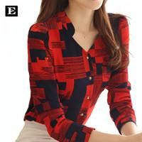 긴 소매 V-칼라 블라우스 여성면 플러스 사이즈 캐주얼 셔츠 스타일 Blusas 새로운 핫 여성의 패션 격자 무늬 셔츠