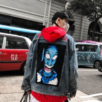 Jeans Jacket Cotton Hip Hop Coat Harajuku Blue Jeans Coat Us...