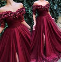 Бургундия с плеча Tulle линия длинные вечерние платья 2019 с короткими рукавами Ruched Split 3D цветочные формальные вечеринки выпускные платья BC1453