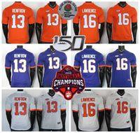 NCAA Clemson Tigers Jerseys 16 Trevor Lawrence Jersey 13 Renfrow Weiß Lila College Football Jersey Nähte 150.