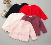 Neonate Maglione Cardigan Toddler Bambini Hollow Knitted Maglione Outwear Bambini Colletto a maniche lunghe in cotone Princess Outwear 5 colori