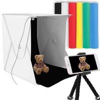 "8"" Portable Photo Studio Light Box 2 LED Panels 6 Farben Backdrops Mini faltbare Foto Light Box Schießen Fotografie Leuchtkasten T200610"