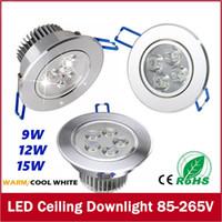 9Вт 12Вт 15Вт светодиодные потолочные светильники встраиваемые светодиодные стены лампы пятно света с светодиодный драйвер для домашнего освещения AC85V-265В