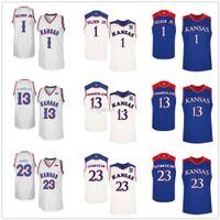 Kansas Jayhawks College # 13 Wilt Chamberlain Basketbol Formaları # 1 Wayne Selden Jr. # 23 Wayne Simien Erkek Dikişli Özel Herhangi bir Numara Adı