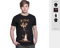 T-shirt allentata hip-hop 3-D in cotone a maniche lunghe T-shirt manica corta in cotone a maniche lunghe con lupo Commercio estero