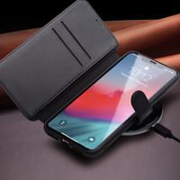 Tirón del cuero genuino para la cubierta magnética del caso hecho a mano ranura del teléfono tarjeta hebilla iPhone 11