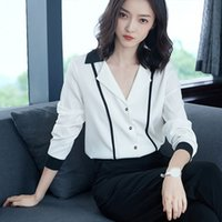 Spring Women Patchwork Shirts Female Long Sleeve Office Lady...