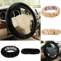 Newest Plush Cars Steering Wheel Cover Hot Car Truck Auto High Quality Leather Steering Wheel Cover With Needles and Thread