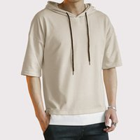 Summer Men Hooded T Shirts Casual Patchwork O Neck Tees Fash...