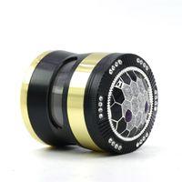 DHL New Tobacco Herb Grinder 4 piece 50mm 55mm 63mm Smoking Set aluminum zinc alloy pollen press catcher metal grinders