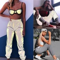 Women Casual Reflective Pants Beam Foot Luminous Elastic jog...