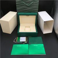 2 Styles neueste beste Qualität Dark Green Original-Woody-Uhr-Kasten-Papiere Geschenktüte für Rolex Box 116600 Uhren Boxen