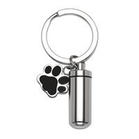 Urn مفتاح سلسلة الحيوانات الأليفة حرق مجوهرات سحر الكلب باو طباعة اسطوانة التذكارية urn قلادة ل رماد تذكار المجوهرات