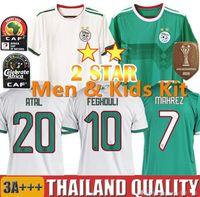 2019 2020 Argélia Home Away Jersey de Futebol Branco 19 20 Argélia Mahrez BounceJah Feghouli Slimani Benguit Jerseys Futebol Verde Camisas