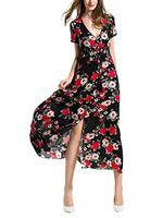 عارضة فساتين angelady البوهيمي المرأة زر يصل انقسام الأزهار طباعة قصيرة الأكمام شاطئ فستان ماكسي