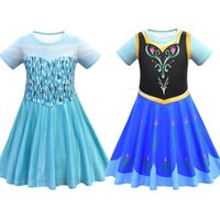 Yaz Giysileri Kar Kraliçesi II Kızlar Için Fantezi Prenses Elbise Prenses Kostüm Noel Partisi Çocuklar Kısa Kollu Elbiseler