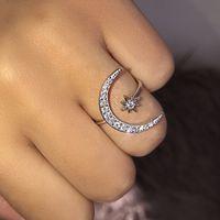 نجمة القمر الدائري خواتم الماس المفتوحة للتعديل نساء rins خواتم ومجوهرات مقلدة ويل وساندي هدية الأزياء والمجوهرات
