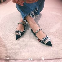 2019 summer new European silk fabrics banquet rhinestones flat shoes pointed flat pointed heels shoes