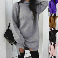 Новое осенне зимнее женское платье с высоким воротником с длинным рукавом сплошной пуловер длинная длина толстовки топы
