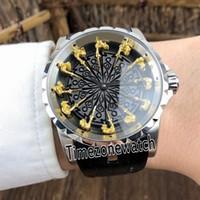 Excalibur 45 RDDBEX0495 Otomatik Mens Watch Çelik Kasa Siyah Doku Dial Sarı Altın Yuvarlak Şövalyeleri Masa Saatleri Timezonewatch 11b2