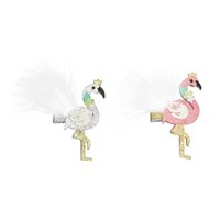New flamingo Girls Hair Clips feather kids Barrettes glisten...