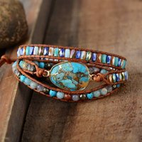 High End Women Bracelets Gilded Natural Stones Vintage Leath...