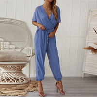 New Clothes 2019 Womens Jumpsuit V-Neck Ladies Summer Beach Wide Leg Holiday Playsuit Drop Shipping