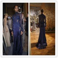 2020 Nouvelle Zuhair Murad à col en dentelle formelle Robes de soirée à manches longues transparent Perles Celebrity Robes de bal appliques sur mesure bleu marine