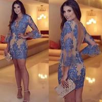 섹시한 푸른 칵테일 드레스 백리스 긴 소매 v 목 레이스 무도회 드레스 섹시한 미니 이브닝 가운을 통해