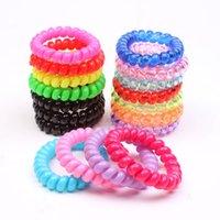 Yüksek Esneklik Telefon Bobin Hairbands Kadın Spiral Bağları Kızlar Saç Yüzük Halat Katı Renk Aksesuarları Sakız Scrunchy