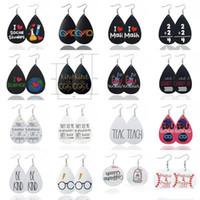 pendientes de cuero de la personalidad de las mujeres letras inglesas vidrios creativos de joyería pendientes de lágrima de impresión partido regalos de Navidad