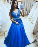 2019 decote em v vestidos de baile a linha sem mangas azul royal festa formal gulos com diamantes caixilhos até o chão vestidos de baile